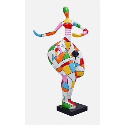 Statue sculpture décorative design FEMME ARLEQUIN en résine H140 (multicolore)