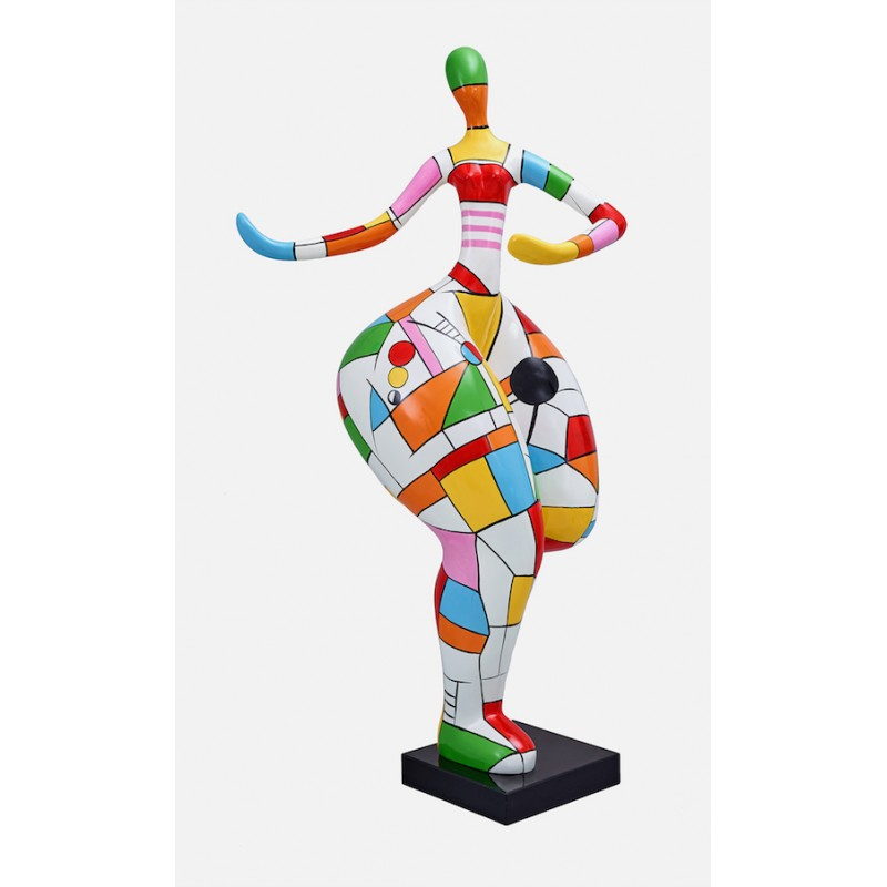 Statue woman Harlequin design decorative sculpture in resin H140 (multicolor) - image 36667