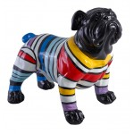 statue-sculpture-decorative-design-chien-rayures-en-resine-multicolore