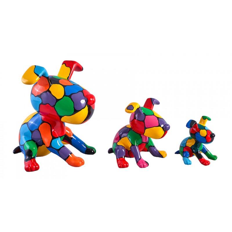 Set de 3 sculptures design CHIEN en résine (multicolore)