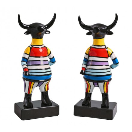 Set de 2 sculptures design TAUREAU en résine H40 (multicolore)