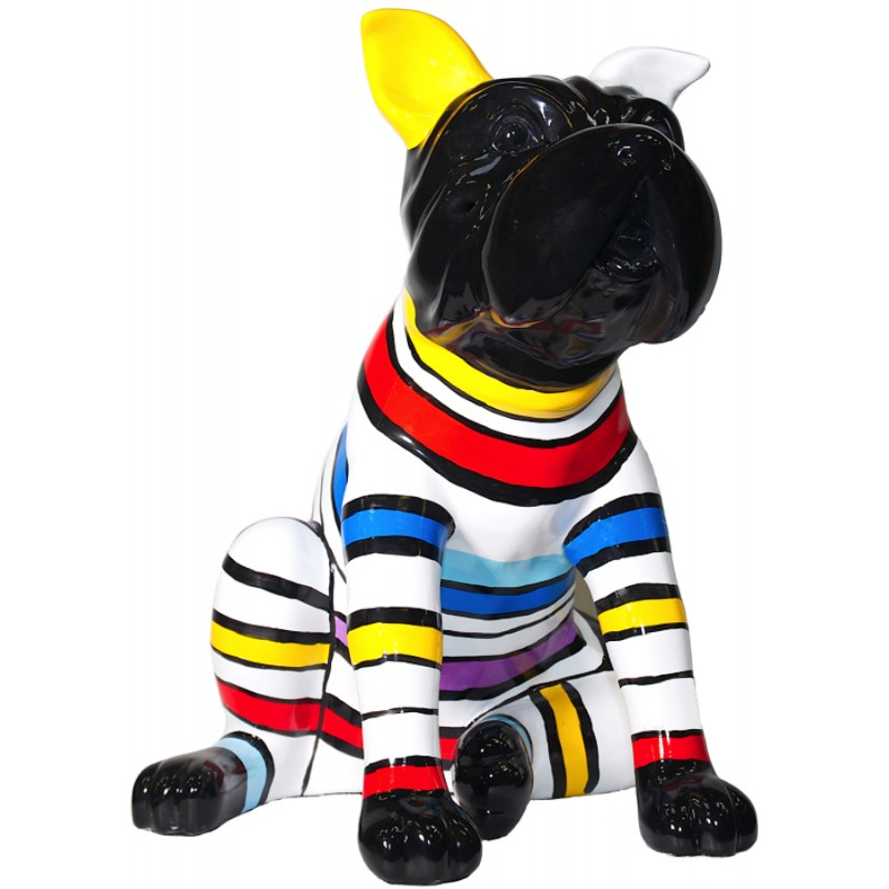 Statue dog sitting stripes design decorative sculpture in resin (multicolor) - image 36684