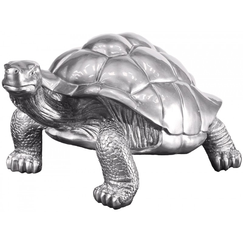 Estatua de tortuga diseño escultura decorativa en resina (plata)