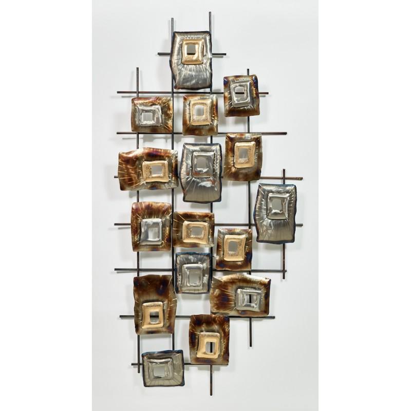 GEOMETRISCHE Wandskulptur aus Metall (Silber, Beige, braun) - image 36695