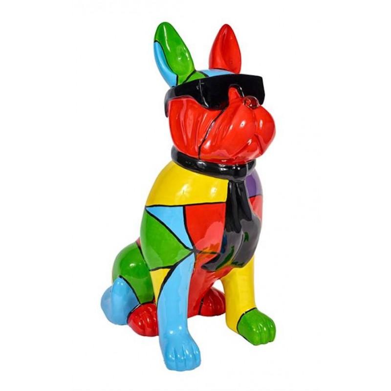 Perro de estatua A bisel diseño escultura decorativa en resina (multicolor)