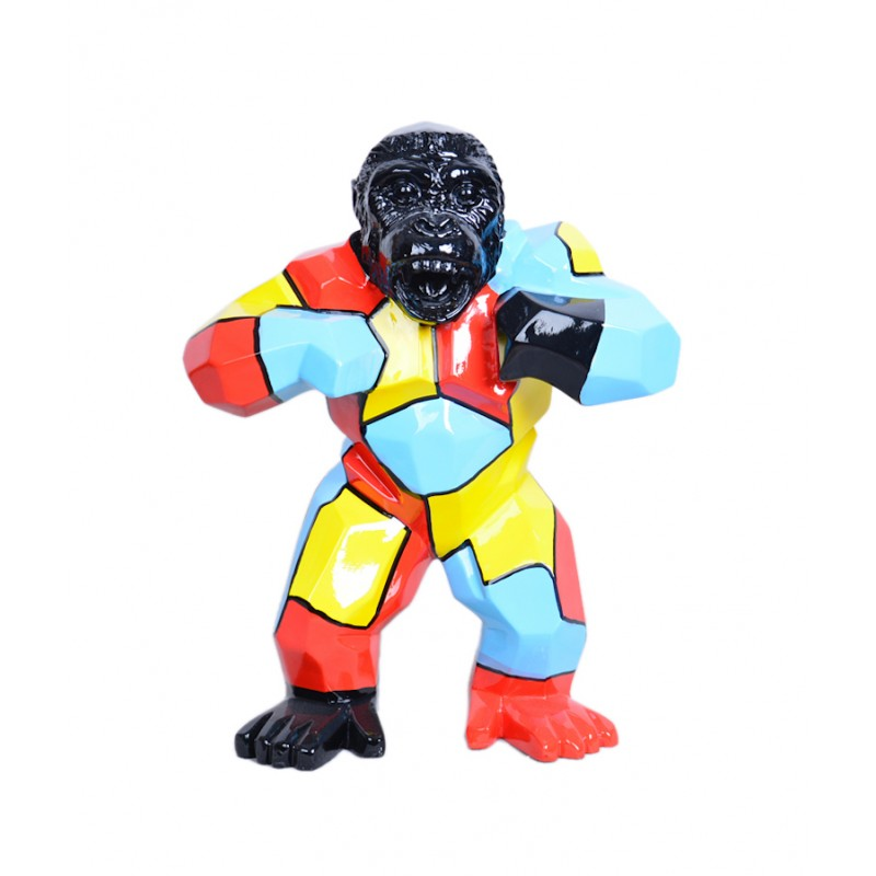 Statue design decorative sculpture gorilla in resin (multicolor) - image 36710