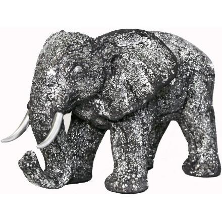 Statua dell'elefante design scultura decorativa in resina (nero, argento)