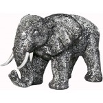 Statue ELEPHANT design decorative sculpture in resin (black, silver)
