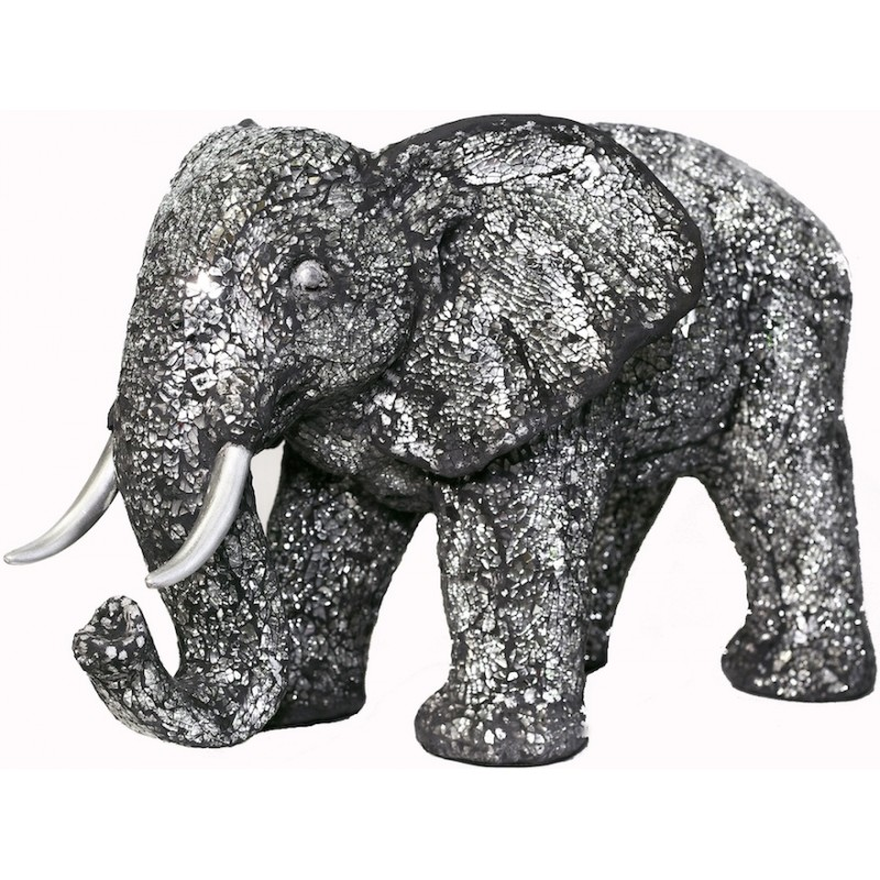 Statue ELEPHANT design decorative sculpture in resin (black, silver) - image 36712