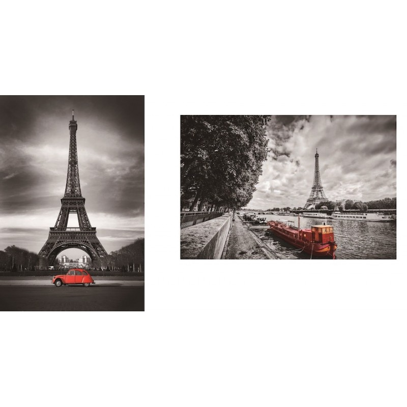 Set of 2 paintings on glass EIFFEL Tower (black, red) - image 36717