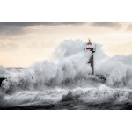 Painting on glass LIGHTHOUSE (black, white)