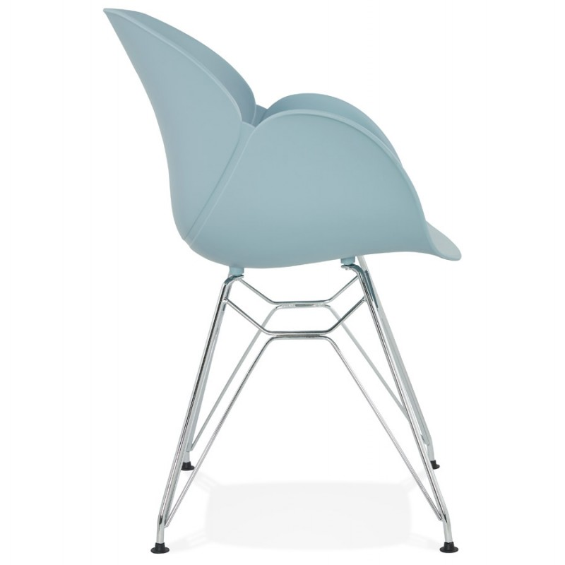 Design chair industrial style TOM foot chromed metal polypropylene (sky blue) - image 36770