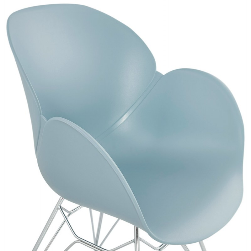 Design chair industrial style TOM foot chromed metal polypropylene (sky blue) - image 36775