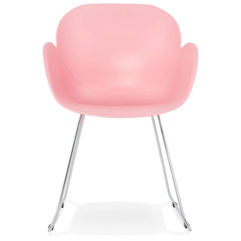 Chaise design pied effil adele en polypropyl ne rose poudr for Chaise design rose