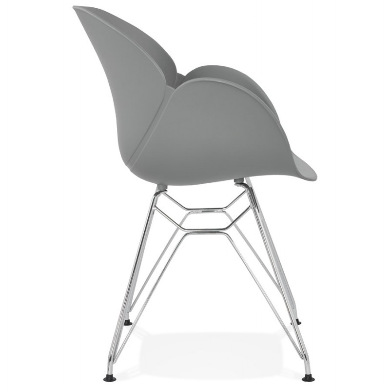 Design chair industrial style TOM polypropylene foot chromed metal (light gray) - image 36961