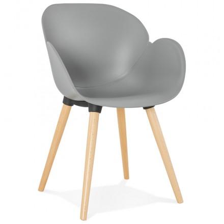 Progettazione di polipropilene di sedia stile scandinavo LENA (grigio chiaro)