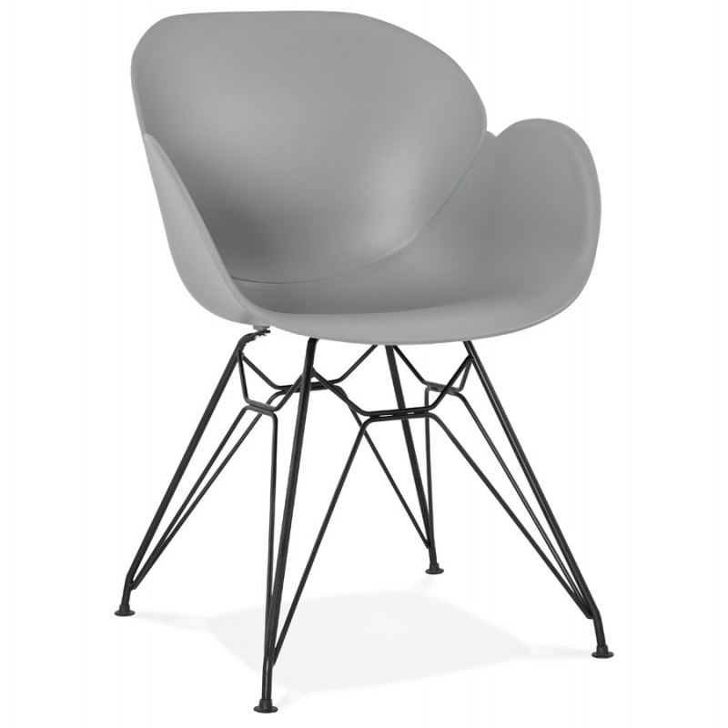 Design chair industrial style TOM polypropylene foot black metal (light gray) - image 37010