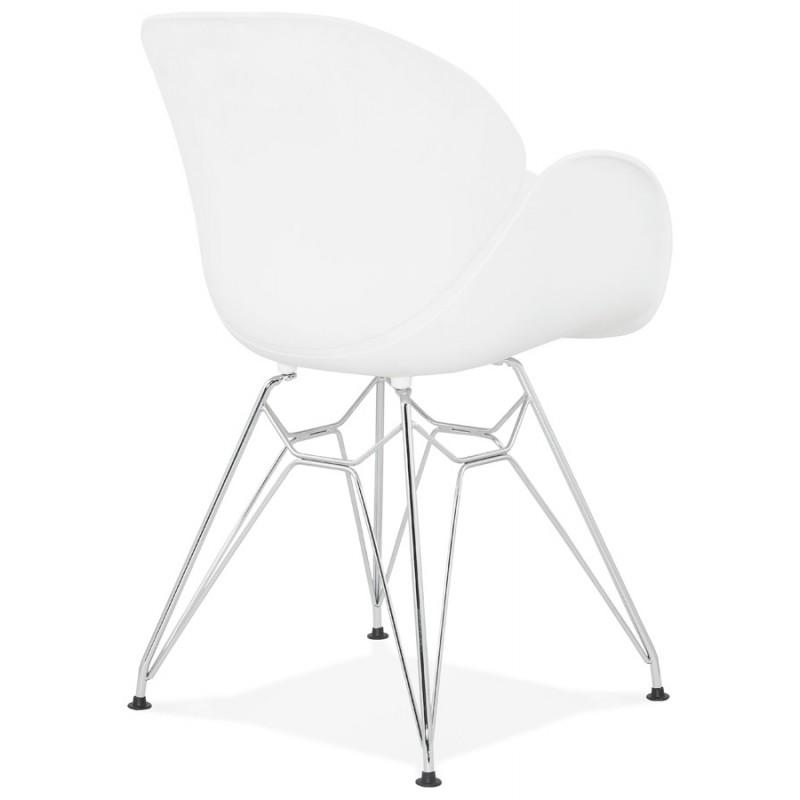 Silla de diseño estilo industrial polipropileno TOM pie de metal cromado (blanco) - image 37027