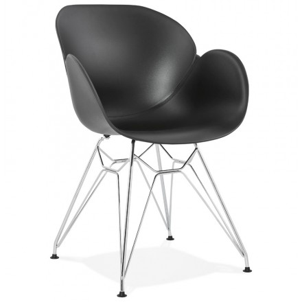 Design chair industrial style TOM polypropylene foot chromed metal (black)