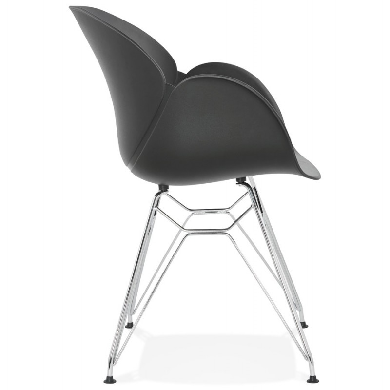 Design chair industrial style TOM polypropylene foot chromed metal (black) - image 37038