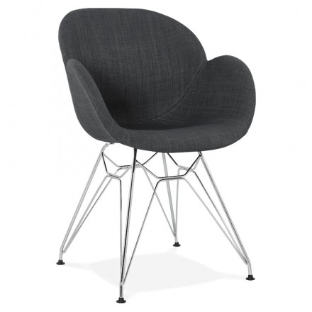 Design chair industrial style TOM fabric foot chromed metal (dark gray)