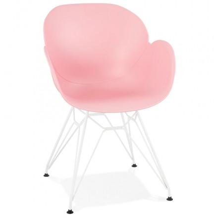 Chaise design et moderne TOM en polypropylène pied métal blanc (rose poudré)