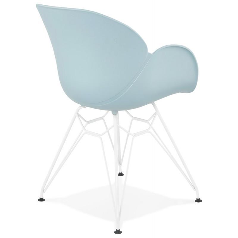 Sedia design e moderno TOM in polipropilene bianco metallo base (celeste) - image 37079