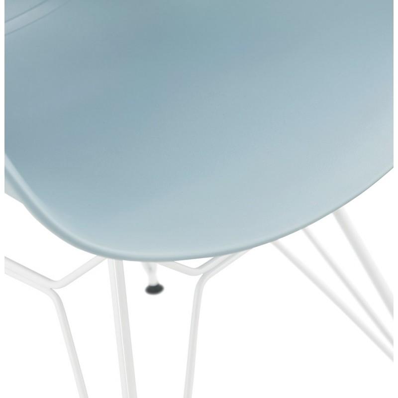 Sedia design e moderno TOM in polipropilene bianco metallo base (celeste) - image 37081
