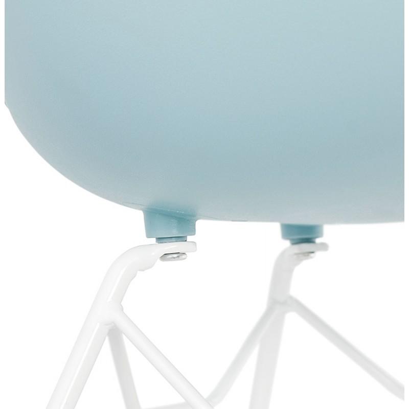 Sedia design e moderno TOM in polipropilene bianco metallo base (celeste) - image 37084