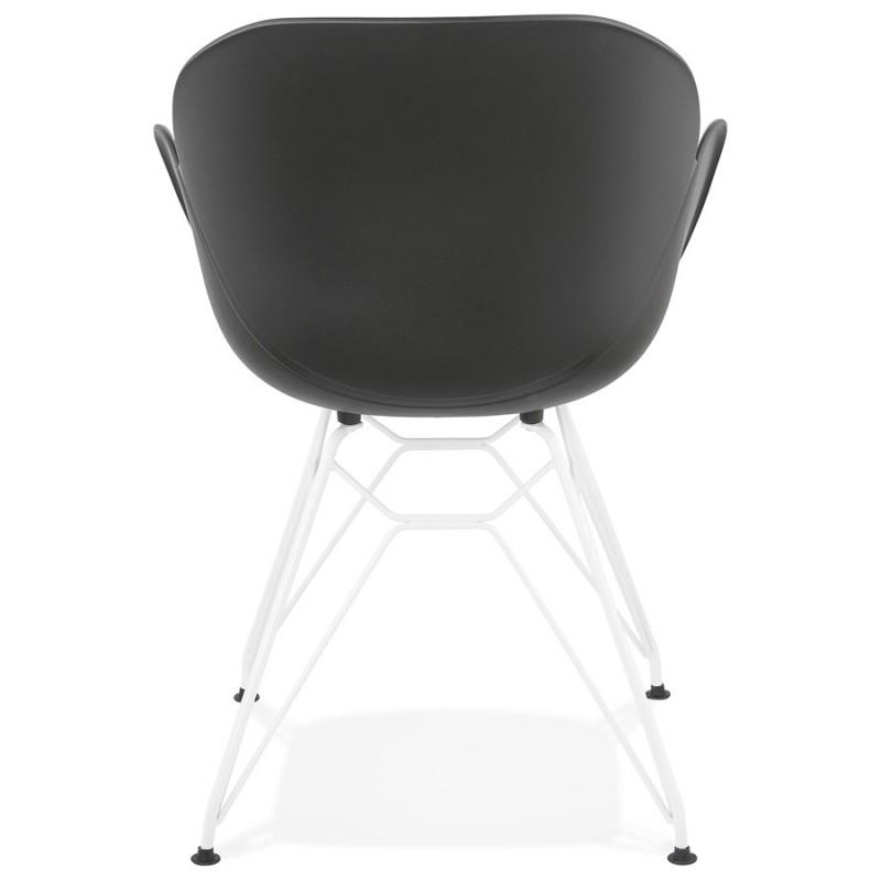 Silla de diseño y moderno TOM polipropileno pie metal blanco (negro) - image 37115