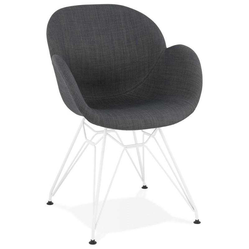 Chaise design et moderne TOM en tissu  pied métal blanc (gris foncé)