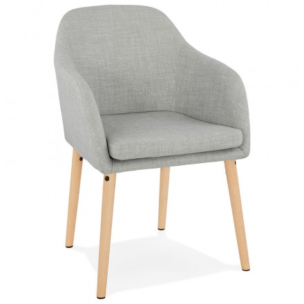Scandinavian Chair with armrests ANABELLE in fabric (light gray)