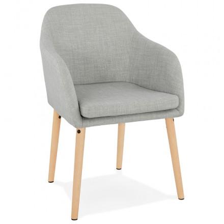 Skandinavische Stuhl mit Armlehnen ANABELLE in Stoff (hellgrau)