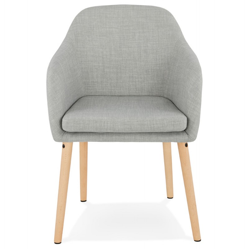 Scandinavian Chair with armrests ANABELLE in fabric (light gray) - image 37155