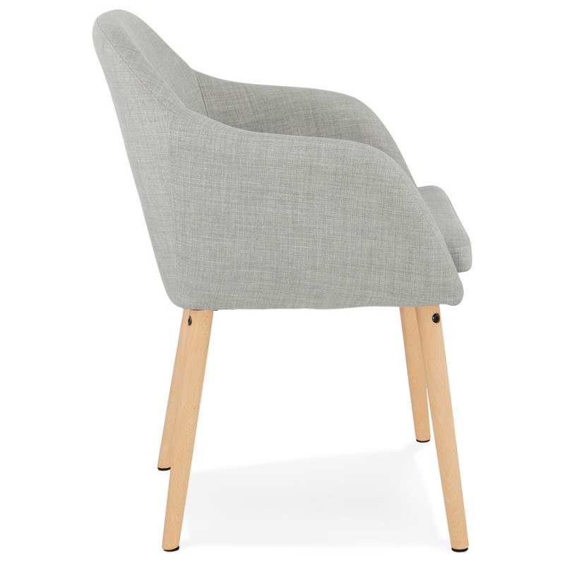 Scandinavian Chair with armrests ANABELLE in fabric (light gray) - image 37156