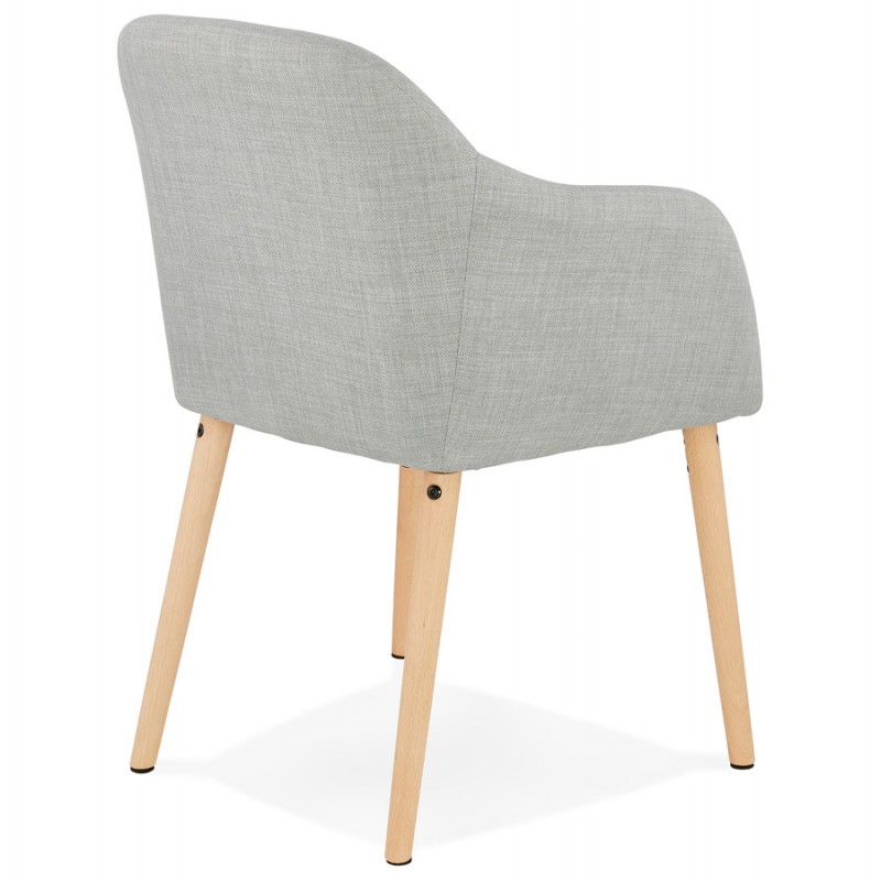 Scandinavian Chair with armrests ANABELLE in fabric (light gray) - image 37157