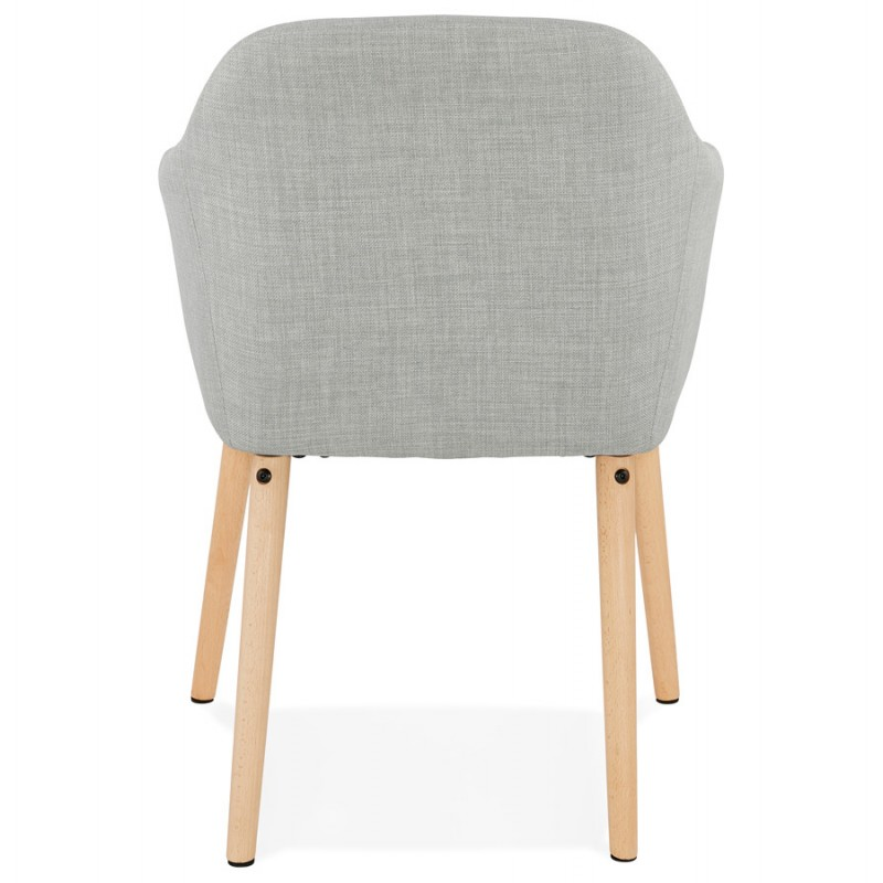 Scandinavian Chair with armrests ANABELLE in fabric (light gray) - image 37158