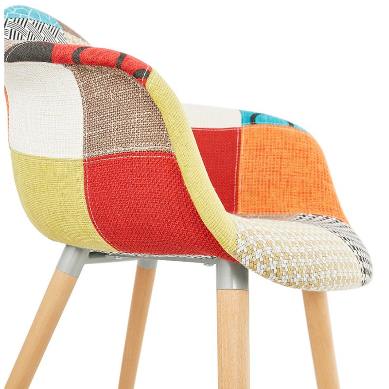 Design chair and Bohemia patchwork with armrests Ophelia in fabric (multicolor) - image 37195