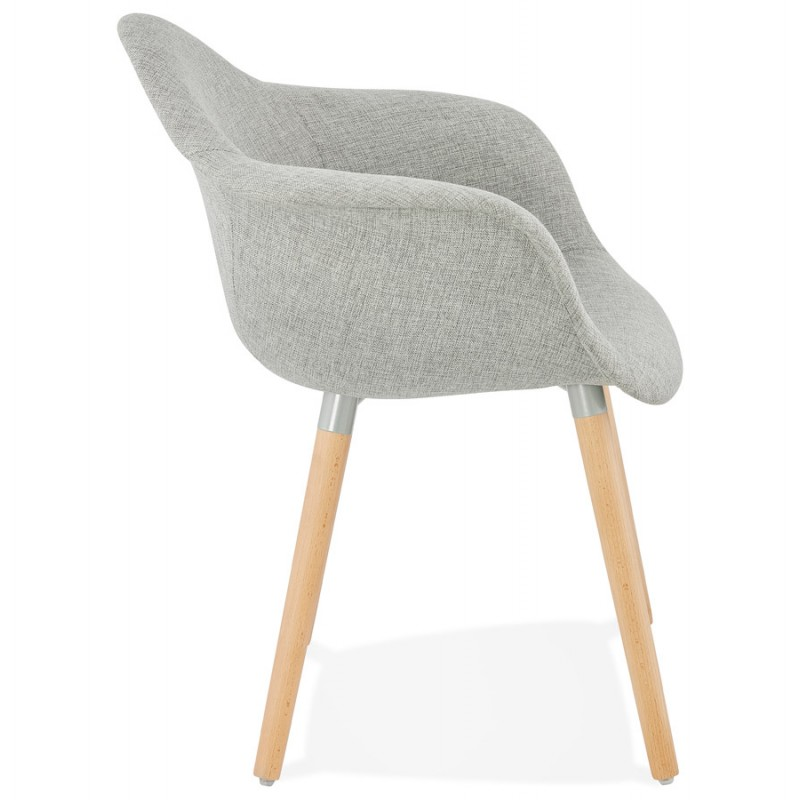 Scandinavian design chair with armrests Ophelia in fabric (light gray) - image 37202