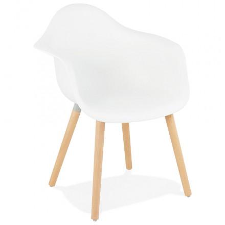 Skandinavisches Designstuhl mit Armlehnen Ophelia Polypropylen (weiß)