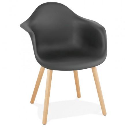 Chaise design scandinave avec accoudoirs OPHELIE en polypropylène (noir)