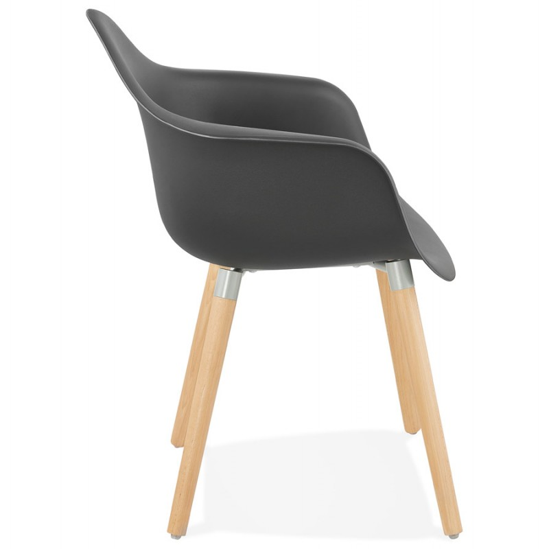Scandinavian design chair with armrests Ophelia polypropylene (black) - image 37372