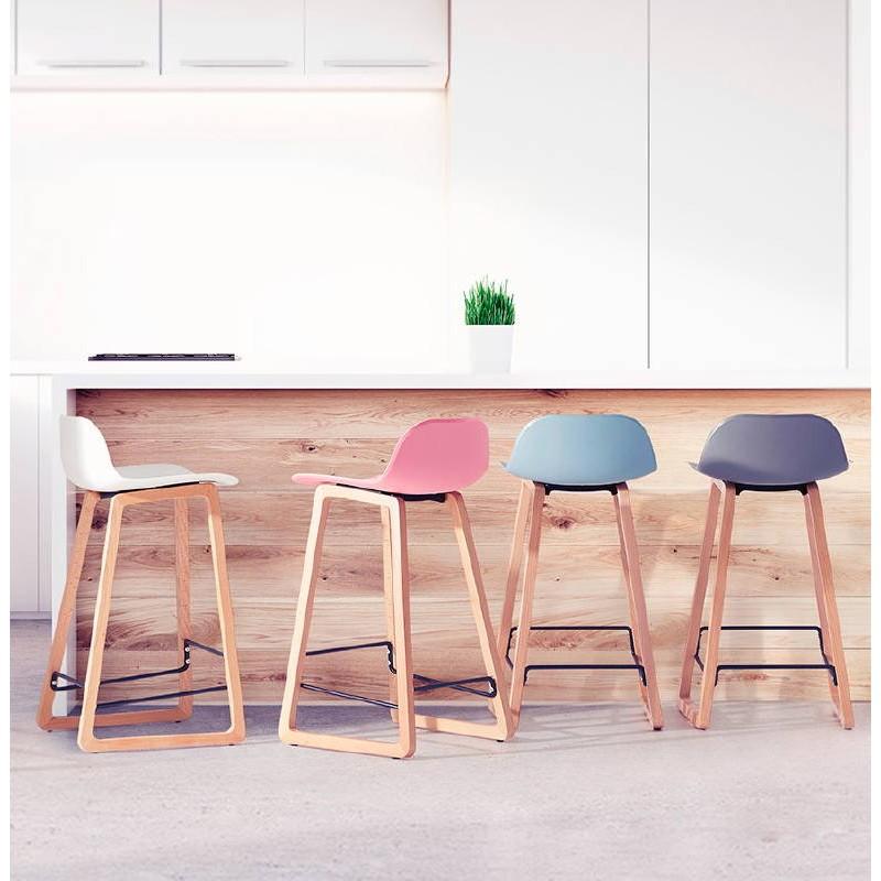 Tabouret de bar chaise de bar mi-hauteur scandinave SCARLETT MINI (rose poudré) - image 37497