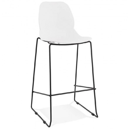 Tabouret de bar chaise de bar industriel empilable JULIETTE (blanc)