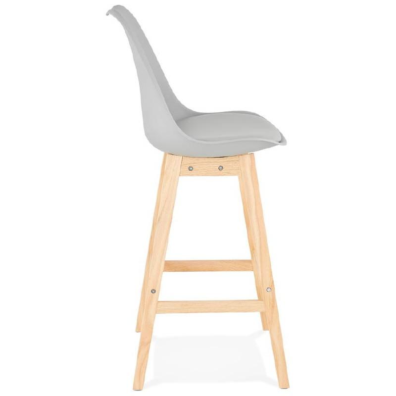 Tabouret de bar chaise de bar design scandinave DYLAN (gris clair) - image 37714
