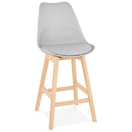 Taburete de bar de diseño escandinavo media altura DYLAN MINI bar silla (gris claro)