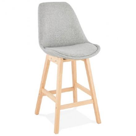 Tabouret de bar chaise de bar mi-hauteur design scandinave ILDA MINI en tissu (gris clair)
