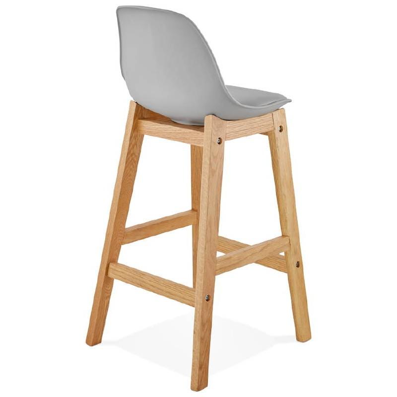Tabouret de bar chaise de bar mi-hauteur design scandinave FLORENCE MINI (gris clair) - image 37815
