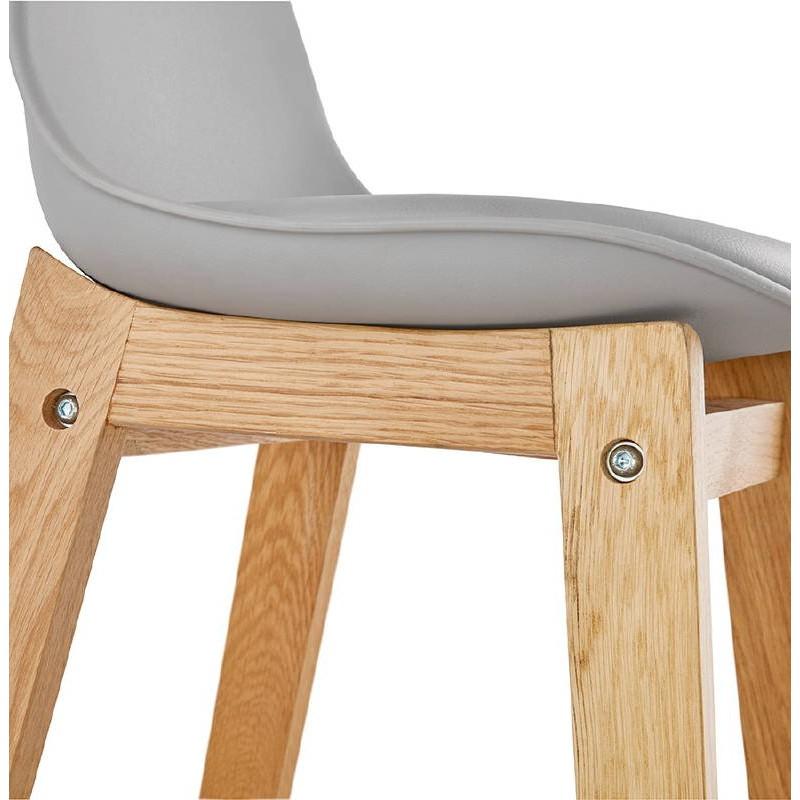 Tabouret de bar chaise de bar mi-hauteur design scandinave FLORENCE MINI (gris clair) - image 37820