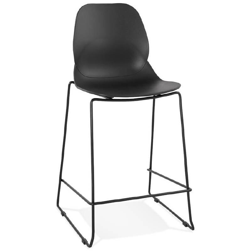 Tabouret de bar chaise de bar industriel mi-hauteur empilable JULIETTE MINI (noir) - image 37825